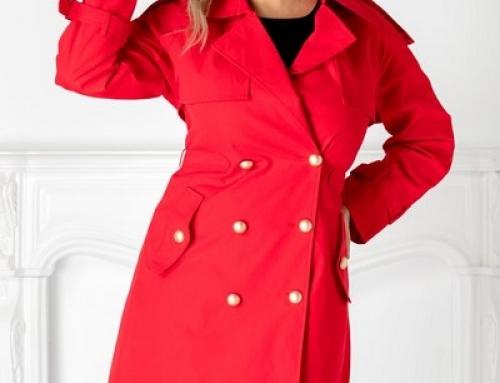 Trenci damă elegant roșu Kinsey JM5TYQ cu rever ascuțit și nasturi aurii