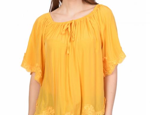 Bluză damă Salma HL-VMG6F galben muștar cu mâneci 3 sferturi, cu dantelă