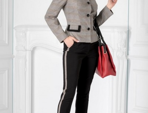 Costum damă office Bryce JFVWQ8 cu sacou în carouri și pantaloni cu dungi laterale