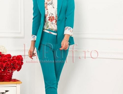 Costum damă office turcoaz Ottilie JVMWKY cu sacou cambrat și pantaloni conici