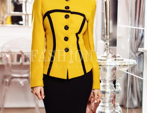 Costum damă elegant Denisse Vega GKVF galben muștar cu fustă neagră
