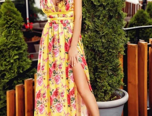 Rochie lungă cu imprimeu floral Daleyza Atmosphere FJDK galbenă despicată