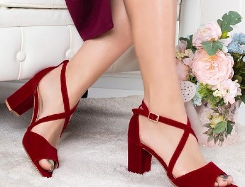 Sandale de damă elegante roșii Ritopi BLFYQG cu toc gros