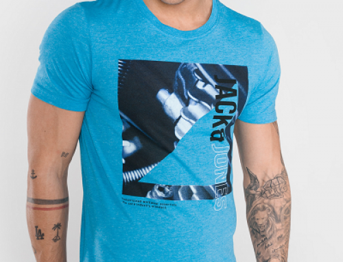 Tricou slim fit bărbați Jack & Jones Core JHNW74S din bumbac albastru cu imprimeu