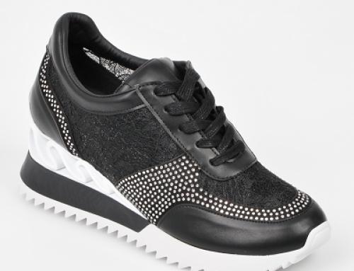 Pantofi sport de damă cu platformă Grixx HBQYJD negri, din piele ecologică