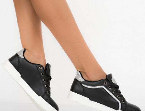 Pantofi sport de damă negri Foxy Shona HU52-GWQ cu talpă plată din piele eco