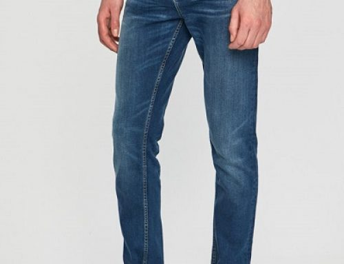 Blugi Skinny pentru bărbați Scotch & Soda JGBUWQ conici cu talie normală, albaștri