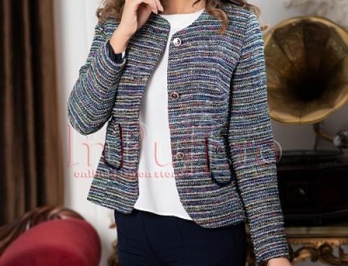 Jachetă damă elegantă scurtă Hermosa VKMDWQ multicoloră, fără guler