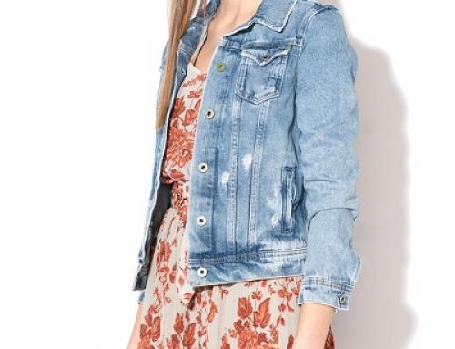 Jachetă damă scurtă de blugi Pepe Jeans London VKDQW cu rupturi decorative, bleu stins