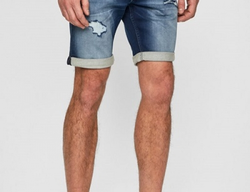 Pantaloni scurți de blugi bărbați Jack & Jones UKDW3 albaștri cu rupturi decorative
