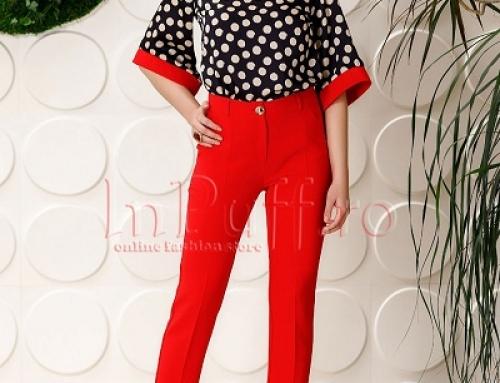 Pantaloni damă eleganți roșii Pretty Veda JLVYG conici și cu talie normală