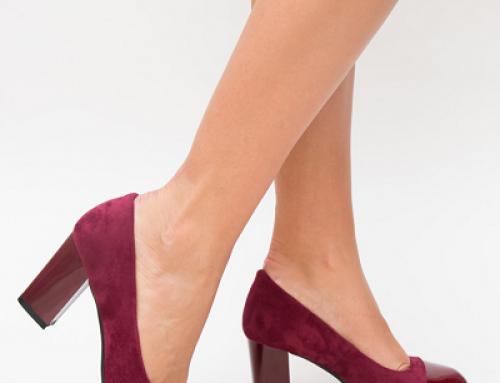 Pantofi damă eleganți Expres Bijou KWLD grena cu toc gros, din piele eco întoarsă
