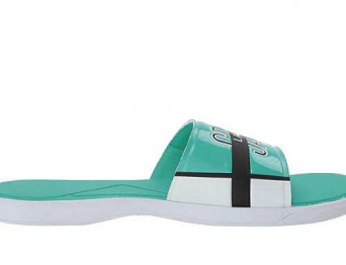 Șlapi de plajă turcoaz pentru bărbați Lacoste Slide LCDW9 cu branț capitonat