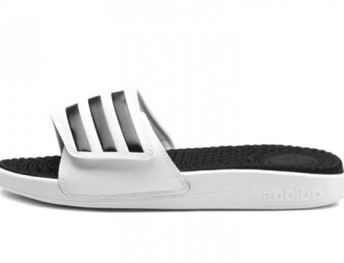Papuci sport de plajă bărbați Adidas Performance Adissage KDLSW albi cu talpă groasă