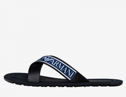 Șlapi de plajă bărbați Emporio Armani JLK-GBVY albaștri cu talpă plată