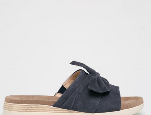 Papuci damă Caprice JKMBQW cu platformă din piele naturală, cu fundă decorativă