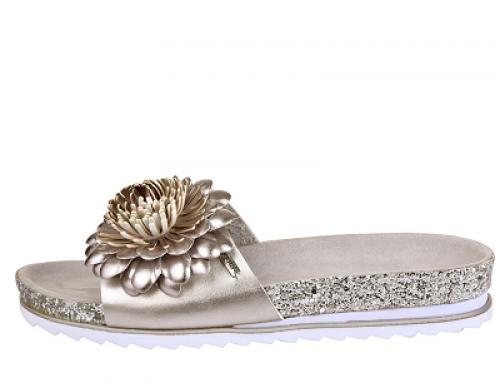 Papuci de damă eleganți Bugatti UJM-D47SW cu ornament floral, bronz