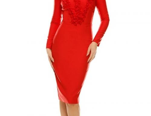 Rochie de seară roșie Edesa Bridget KNQFY cu volănașe midi, mulată pe corp