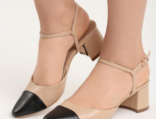Sandale de damă office Antoñete JLB-FVD cu toc gros și vârf ascuțit, bej, piele eco