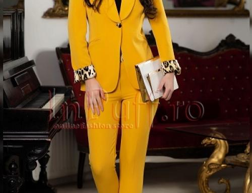 Costum de damă office Davina Halle galben muștar, pantaloni conici și sacou cambrat