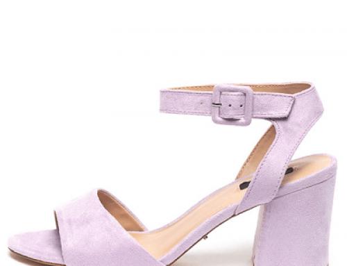 Sandale elegante Only JKLQ Amanda de damă lila cu toc masiv și branț căptușit