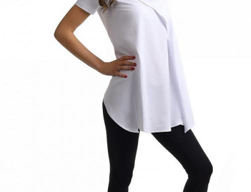 Tricou asimetric damă Sadie Sensation alb din bumbac cu guler larg, layer asimetric