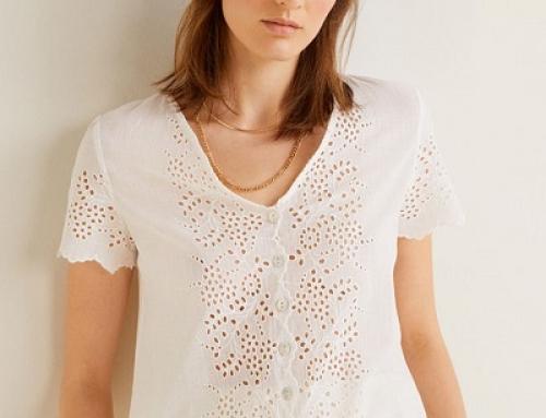 Bluză Mango JTBF Dakota de damă albă cu decolteu în V și inserții decorative, bumbac