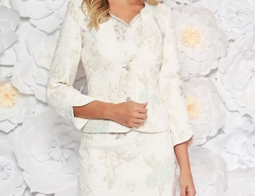 Costum elegant damă Rachel VKGQ4 cu sacou brocart și rochie jaquard, cu fir metalic