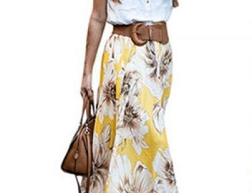 Fustă vaporoasă lungă Rebel BHMJU Campbell cu imprimeu floral galben