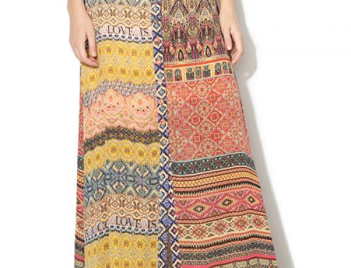 Fustă lungă evazată Desigual HKDW Judith casual cu imprimeu multicolor și fir lucios
