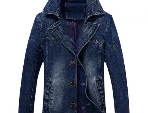 Jachetă din denim Jericho BFJU Milan pentru bărbați, albastră, cu guler pliat