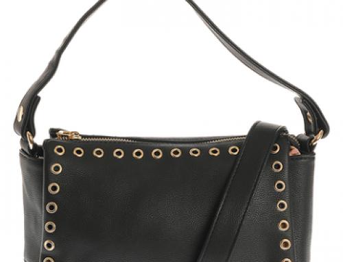 Geantă Sylvie Jewel de damă modernă neagră casual cu detalii metalice aurii