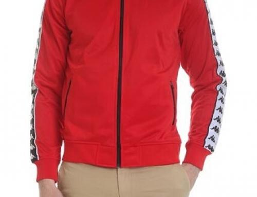Hanorac sport roșu Kappa Thatcher MJUWL pentru bărbați scurt cu fermoar