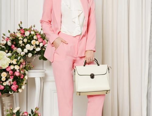 Pantaloni damă office roz Cassidy JLDH Artista drepți, talie medie, până la glezne