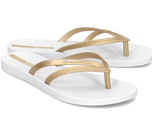 Papuci de plajă damă Ipanema Kallie Bossa cu talpă plată, auriu/alb