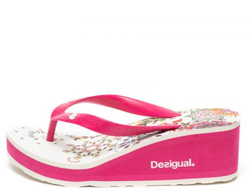 Papuci damă Desigual NHMYW Emily cu platformă și imprimeu floral