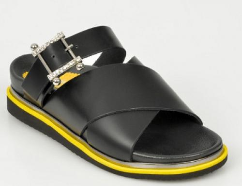 Papuci Flavia Passini DWJYT de damă din piele naturală, negri cu talpă plată