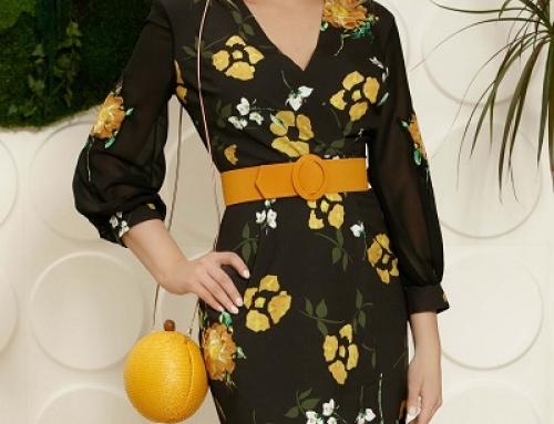 Rochie neagră office Sloane Ayla cu imprimeu galben, conică, mâneci din voal, midi