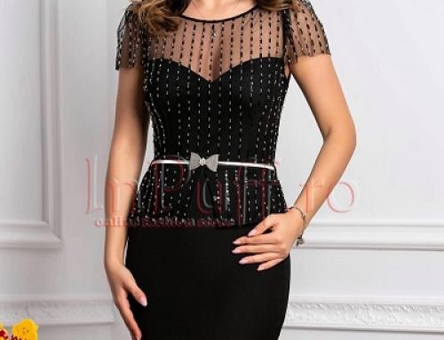 Rochie de ocazie neagră Jazlyn MKLDQ midi din tul cu paiete și curea în talie