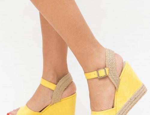 Sandale damă Aurora HWLUF Simin cu platformă, galbene, piele eco și textil