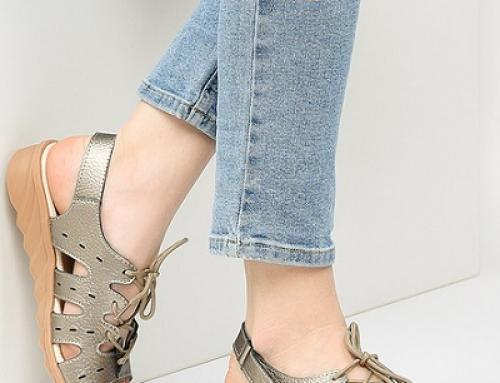 Sandale damă Ruby BIrdie din piele naturală casual cu toc plat și șnur, metalizate