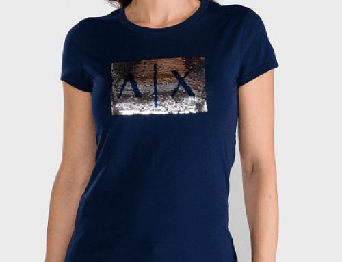 Tricou damă Armani Exchange MJLUW din bumbac albastru slim