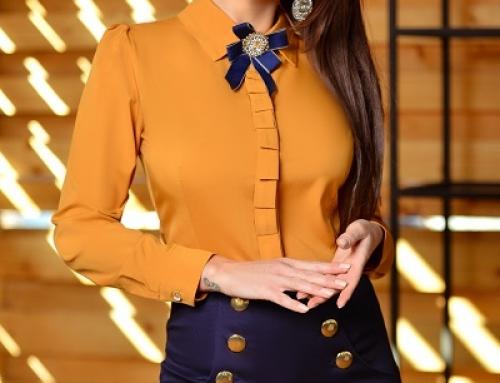 Cămașă Mallory VSWDQ de damă office cambrată cu broșă decorativă