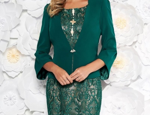 Costum elegant Giana BJKS Kay de damă verde cu rochie conică și dantelă florală