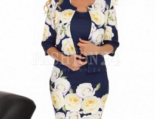 Costum office damă Valerie LCLWQ Mara cu imprimeu floral, bleumarin, cu rochie
