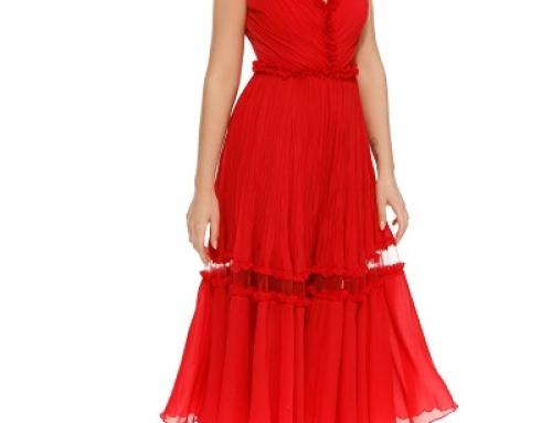 Rochie de ocazie Emory MVXZ Megan roșie din voal cu tul și fără mâneci