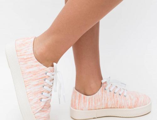 Pantofi sport Analia G-VFGW Embo de damă portocalii cu talpă groasă, material textil