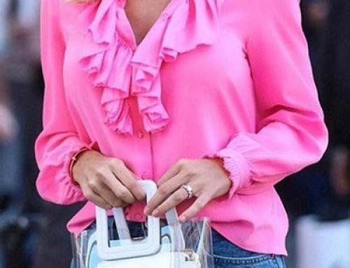 Bluză roz Sloane JYLSQ de damă lejeră cu volane și decolteu în V