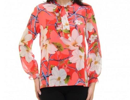 Bluză de damă Cassia JLDW Spring roșie cu imprimeu floral și fundă la gât