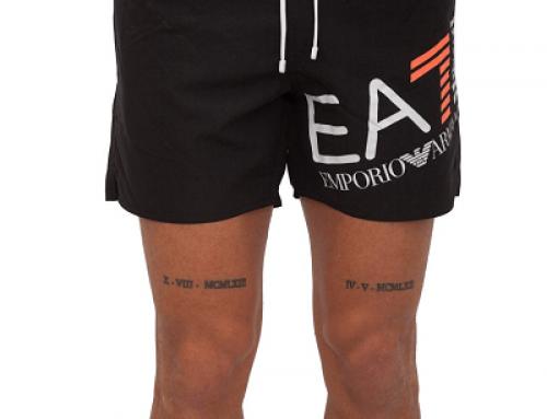 Șort de baie Emporio Armani NHLCS pentru bărbați negru drept cu șnur și buzunare